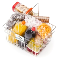 Shopping basket of unhealthy foods
