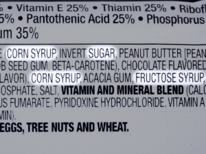 Food label ingredients list with sugar highlighted