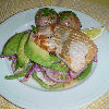 Grilled Salmon with Avocado and Bean Salad