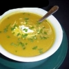 Curried Sweet Potato and Orange Soup with Grilled Peaches