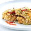 Chili Crab Cakes Topped with Finely Shredded Red Chilies