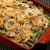 Green Bean and Wisconsin Cheese Casserole with Spicy Onion Rings